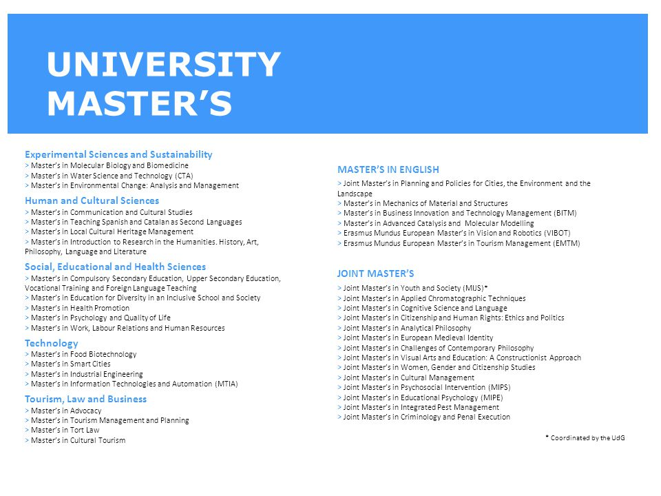 UNIVERSITY MASTER'S Experimental Sciences and Sustainability > Master's in Molecular Biology and Biomedicine > Master's in Water Science and Technolog
