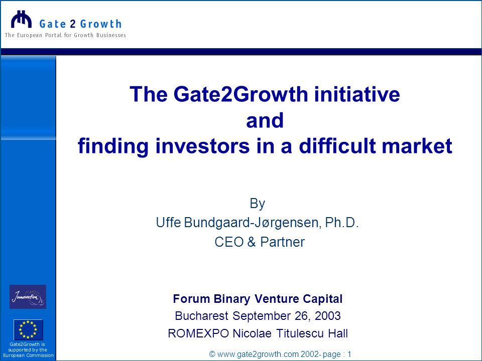 © www.gate2growth.com 2002- page : 1 By Uffe Bundgaard-Jørgensen, Ph.D.