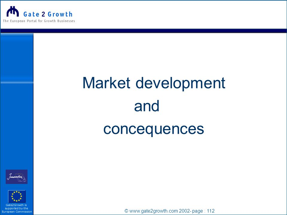 © www.gate2growth.com 2002- page : 112 Market development and concequences
