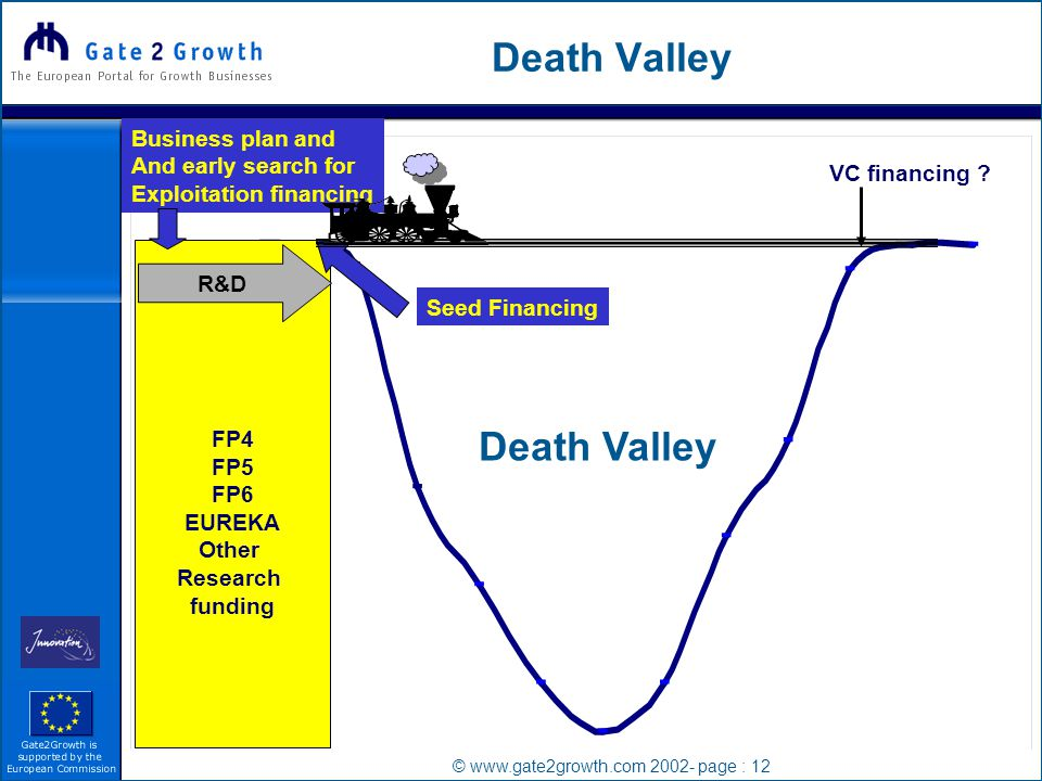 © www.gate2growth.com 2002- page : 12 Death Valley FP4 FP5 FP6 EUREKA Other Research funding R&D VC financing .