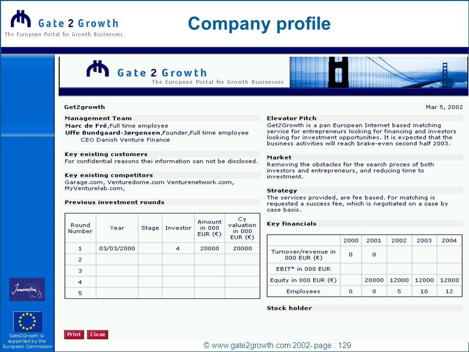 © www.gate2growth.com 2002- page : 129 Company profile