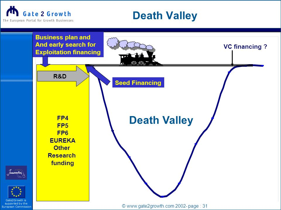 © www.gate2growth.com 2002- page : 31 Death Valley FP4 FP5 FP6 EUREKA Other Research funding R&D VC financing .