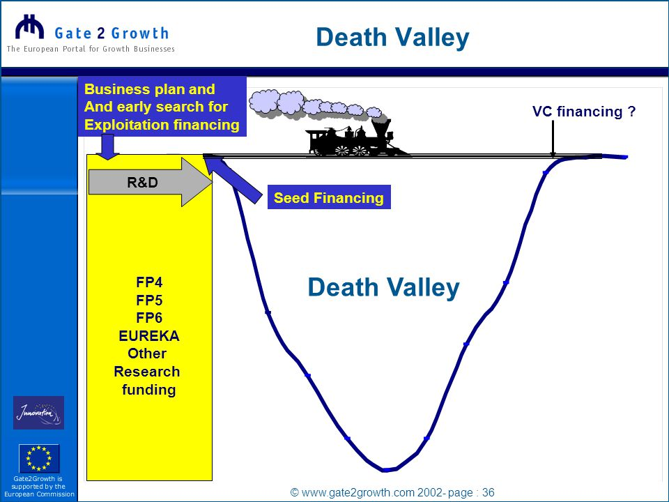 © www.gate2growth.com 2002- page : 36 Death Valley FP4 FP5 FP6 EUREKA Other Research funding R&D VC financing .