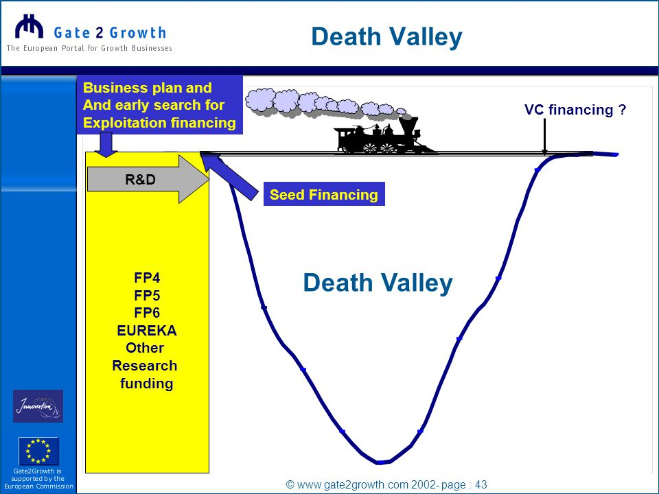 © www.gate2growth.com 2002- page : 43 Death Valley FP4 FP5 FP6 EUREKA Other Research funding R&D VC financing .