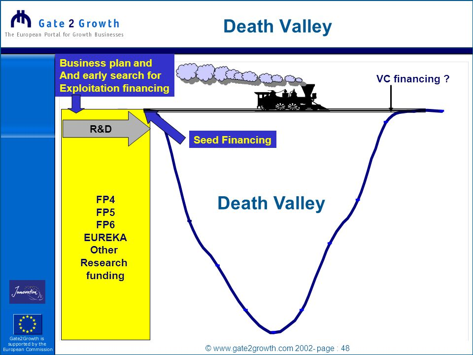 © www.gate2growth.com 2002- page : 48 Death Valley FP4 FP5 FP6 EUREKA Other Research funding R&D VC financing .