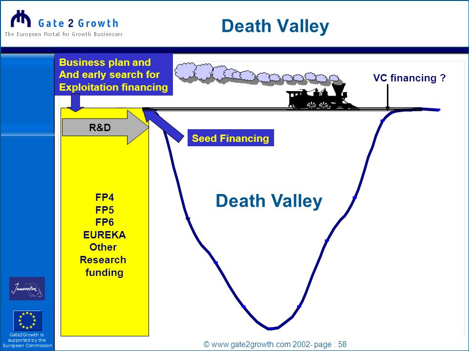 © www.gate2growth.com 2002- page : 58 Death Valley FP4 FP5 FP6 EUREKA Other Research funding R&D VC financing .