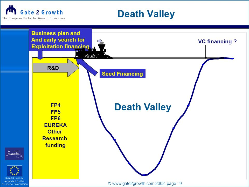 © www.gate2growth.com 2002- page : 9 Death Valley FP4 FP5 FP6 EUREKA Other Research funding R&D VC financing .