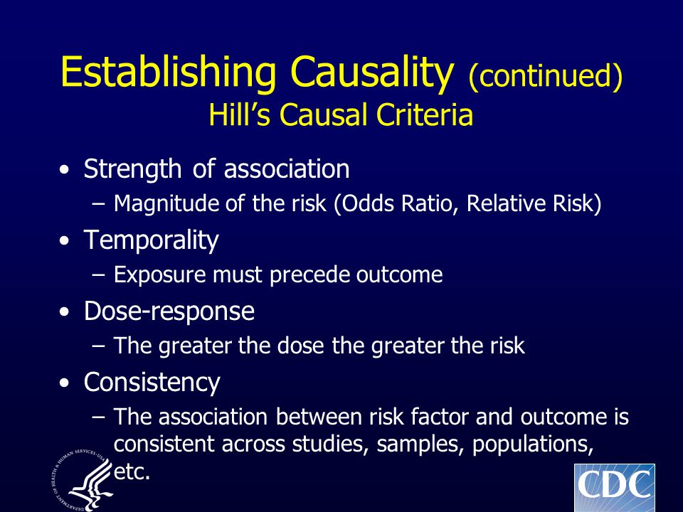Establishing Causality (continued) Hill's Causal Criteria Strength of association –Magnitude of the risk (Odds Ratio, Relative Risk) Temporality –Exposure must precede outcome Dose-response –The greater the dose the greater the risk Consistency –The association between risk factor and outcome is consistent across studies, samples, populations, etc.