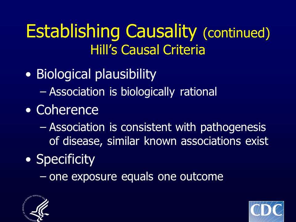 Establishing Causality (continued) Hill's Causal Criteria Biological plausibility –Association is biologically rational Coherence –Association is consistent with pathogenesis of disease, similar known associations exist Specificity –one exposure equals one outcome
