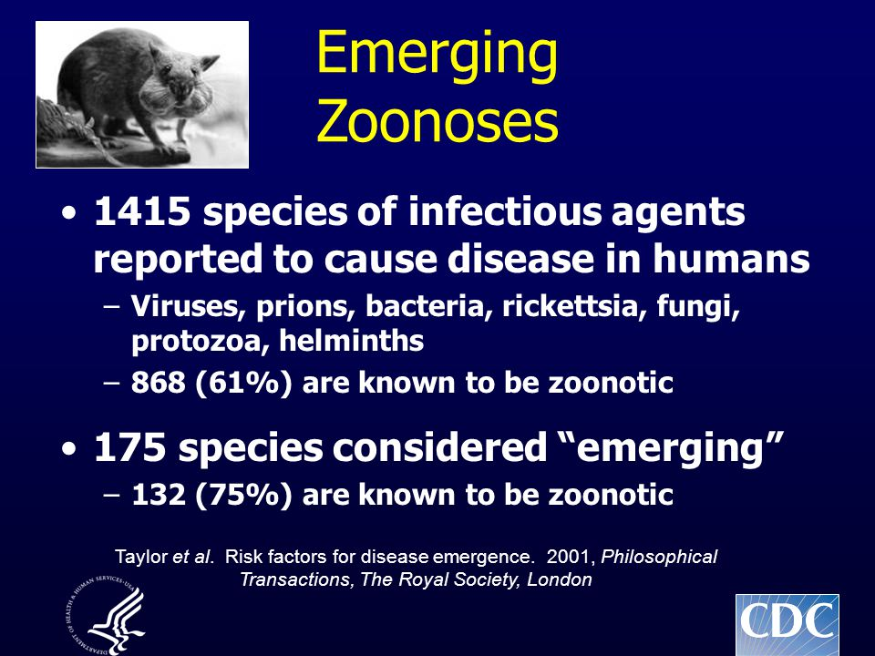 Emerging Zoonoses 1415 species of infectious agents reported to cause disease in humans –Viruses, prions, bacteria, rickettsia, fungi, protozoa, helminths –868 (61%) are known to be zoonotic 175 species considered emerging –132 (75%) are known to be zoonotic Taylor et al.