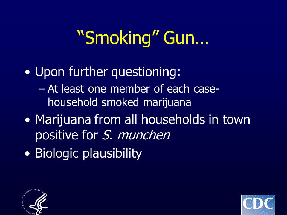 Smoking Gun… Upon further questioning: –At least one member of each case- household smoked marijuana Marijuana from all households in town positive for S.