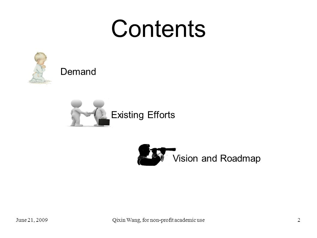 June 21, 2009Qixin Wang, for non-profit academic use3 Contents Demand Existing Efforts Vision and Roadmap
