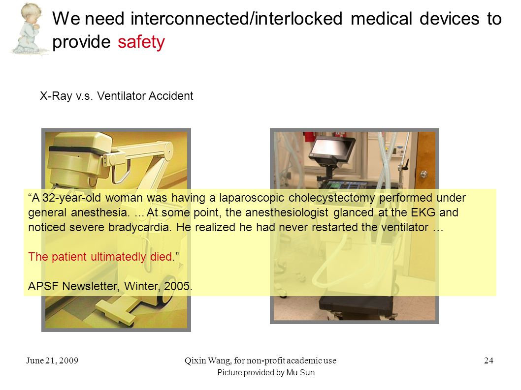 June 21, 2009Qixin Wang, for non-profit academic use24 We need interconnected/interlocked medical devices to provide safety X-Ray v.s.