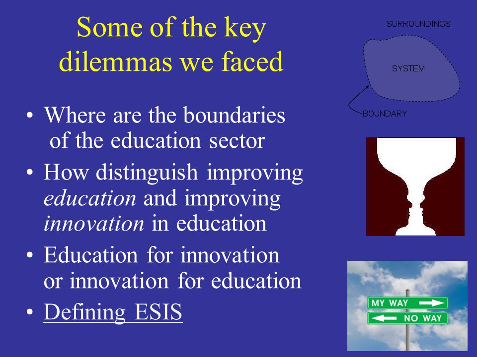 Some of the key dilemmas we faced Where are the boundaries of the education sector How distinguish improving education and improving innovation in education Education for innovation or innovation for education Defining ESIS