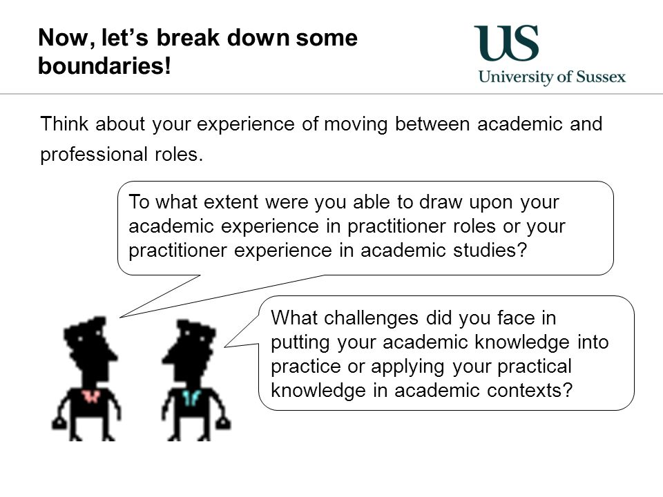 Now, let's break down some boundaries! Think about your experience of moving between academic and professional roles. To what extent were you able to