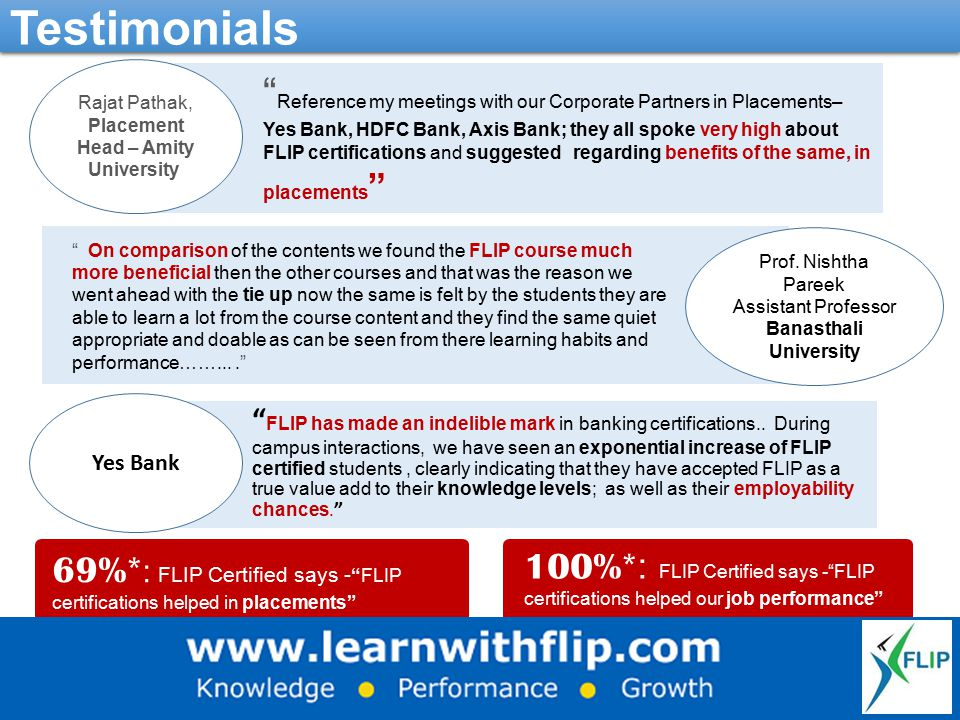 "Testimonials Rajat Pathak, Placement Head – Amity University Prof. Nishtha Pareek Assistant Professor Banasthali University Yes Bank "" FLIP has made a"