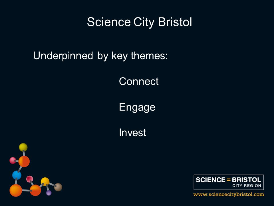 Underpinned by key themes: Connect Engage Invest Science City Bristol