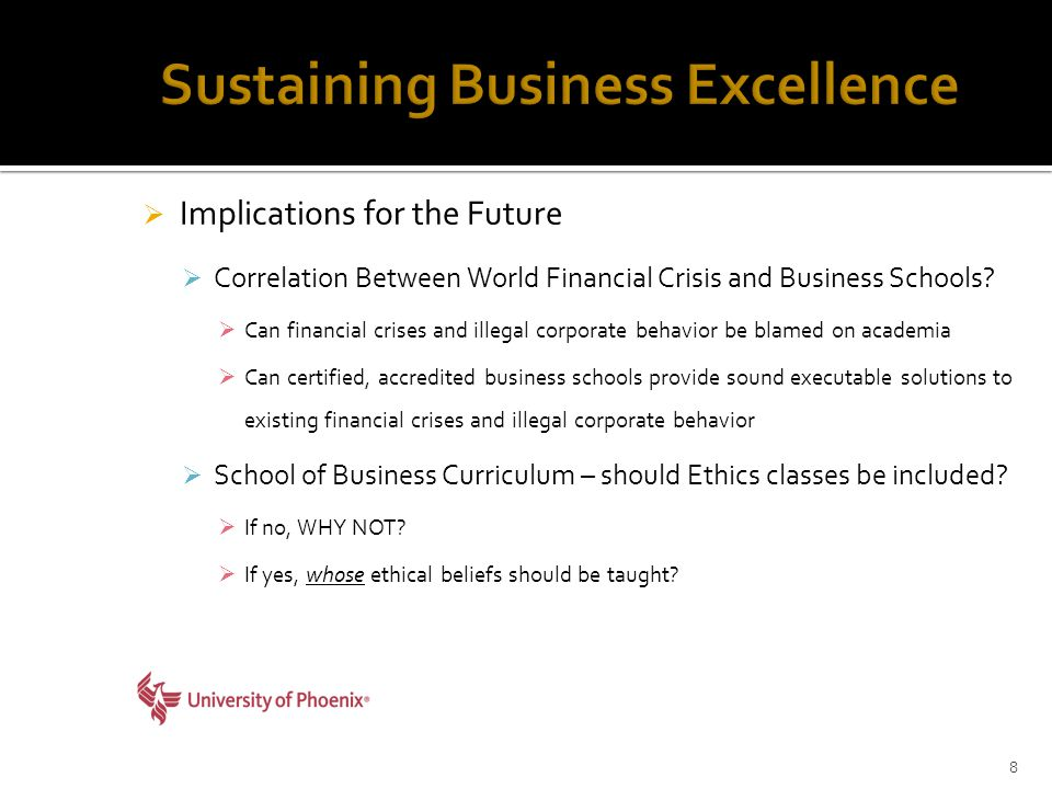  Implications for the Future  Correlation Between World Financial Crisis and Business Schools.