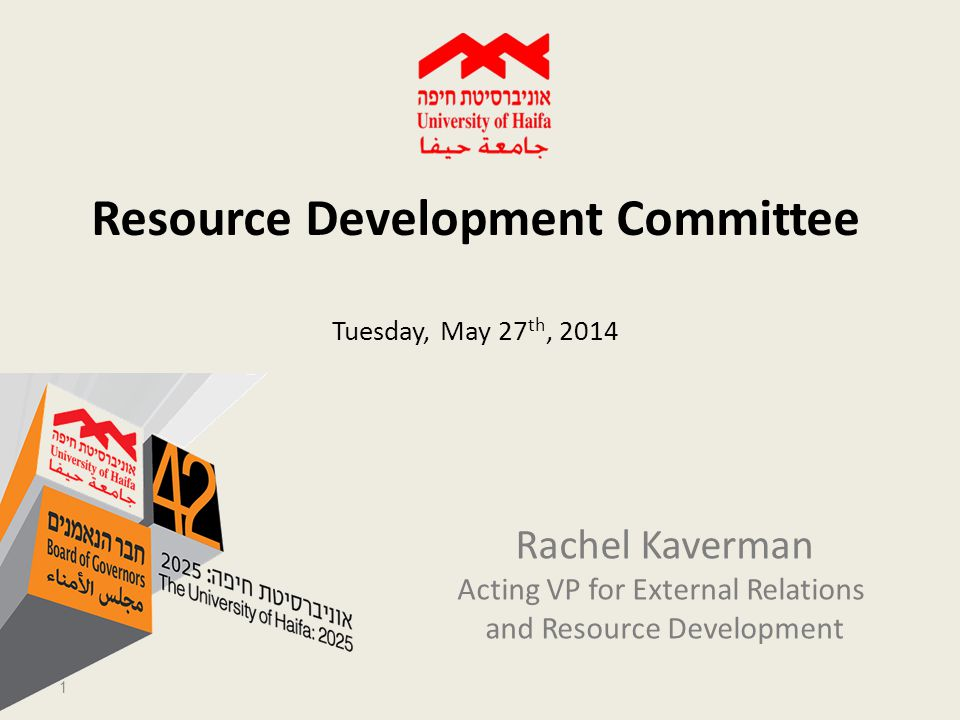 Resource Development Committee Tuesday, May 27 th, 2014 Rachel Kaverman Acting VP for External Relations and Resource Development 1