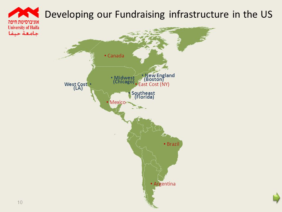 10 Argentina Brazil Mexico Southeast (Florida) New England (Boston) East Cost (NY) Midwest (Chicago) West Cost (LA) Canada Developing our Fundraising infrastructure in the US