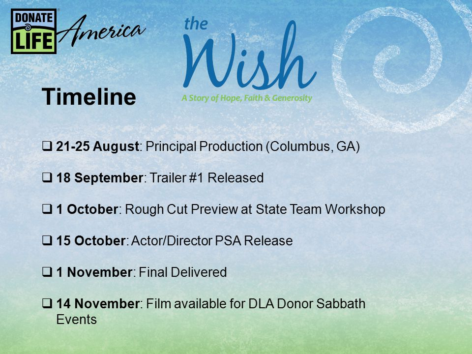 Timeline  21-25 August: Principal Production (Columbus, GA)  18 September: Trailer #1 Released  1 October: Rough Cut Preview at State Team Workshop  15 October: Actor/Director PSA Release  1 November: Final Delivered  14 November: Film available for DLA Donor Sabbath Events