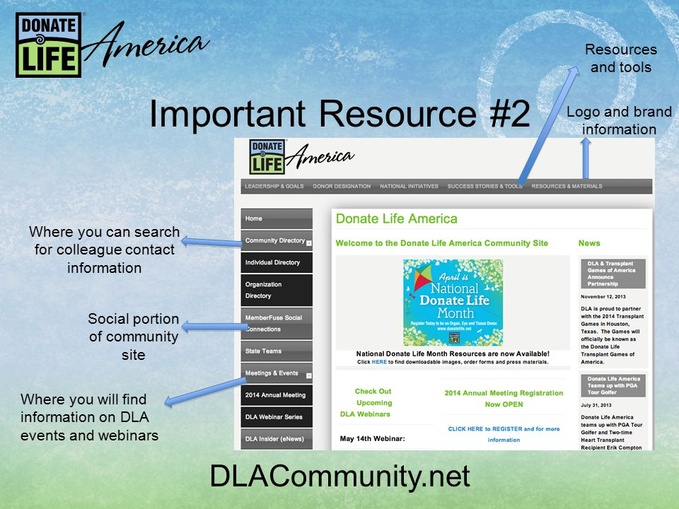 DLACommunity.net Important Resource #2 Where you can search for colleague contact information Social portion of community site Where you will find information on DLA events and webinars Logo and brand information Resources and tools