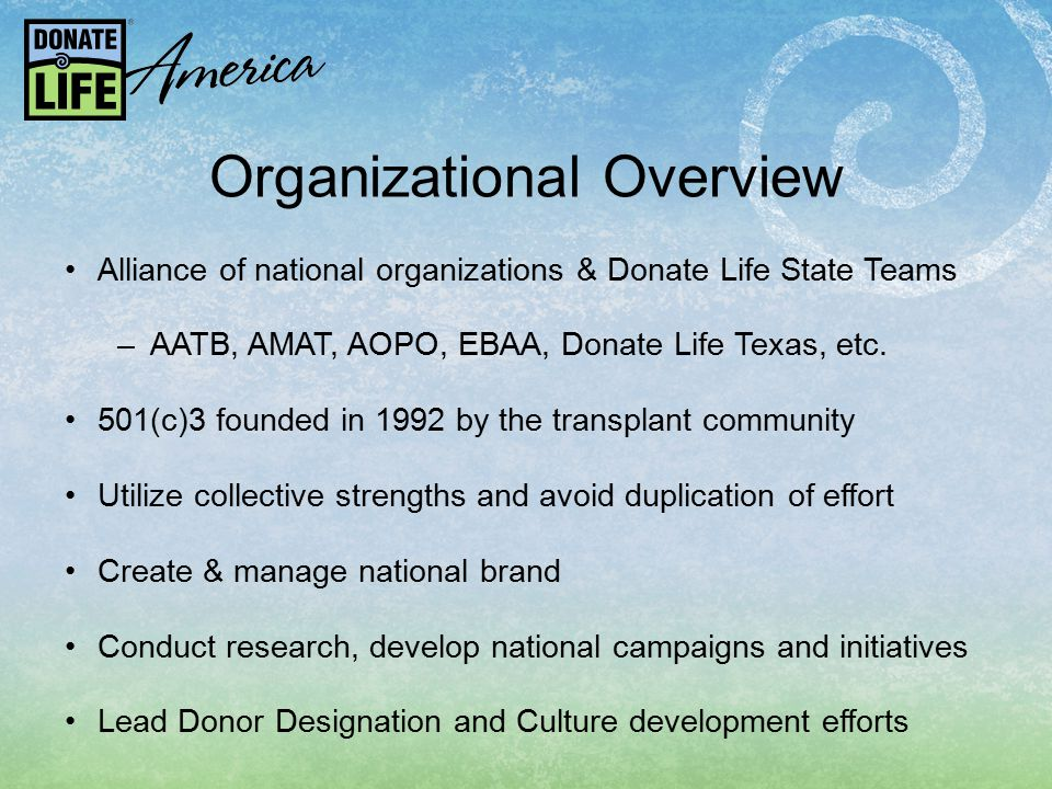 Organizational Overview Alliance of national organizations & Donate Life State Teams –AATB, AMAT, AOPO, EBAA, Donate Life Texas, etc.