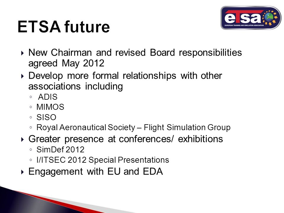  New Chairman and revised Board responsibilities agreed May 2012  Develop more formal relationships with other associations including ◦ ADIS ◦ MIMOS ◦ SISO ◦ Royal Aeronautical Society – Flight Simulation Group  Greater presence at conferences/ exhibitions ◦ SimDef 2012 ◦ I/ITSEC 2012 Special Presentations  Engagement with EU and EDA