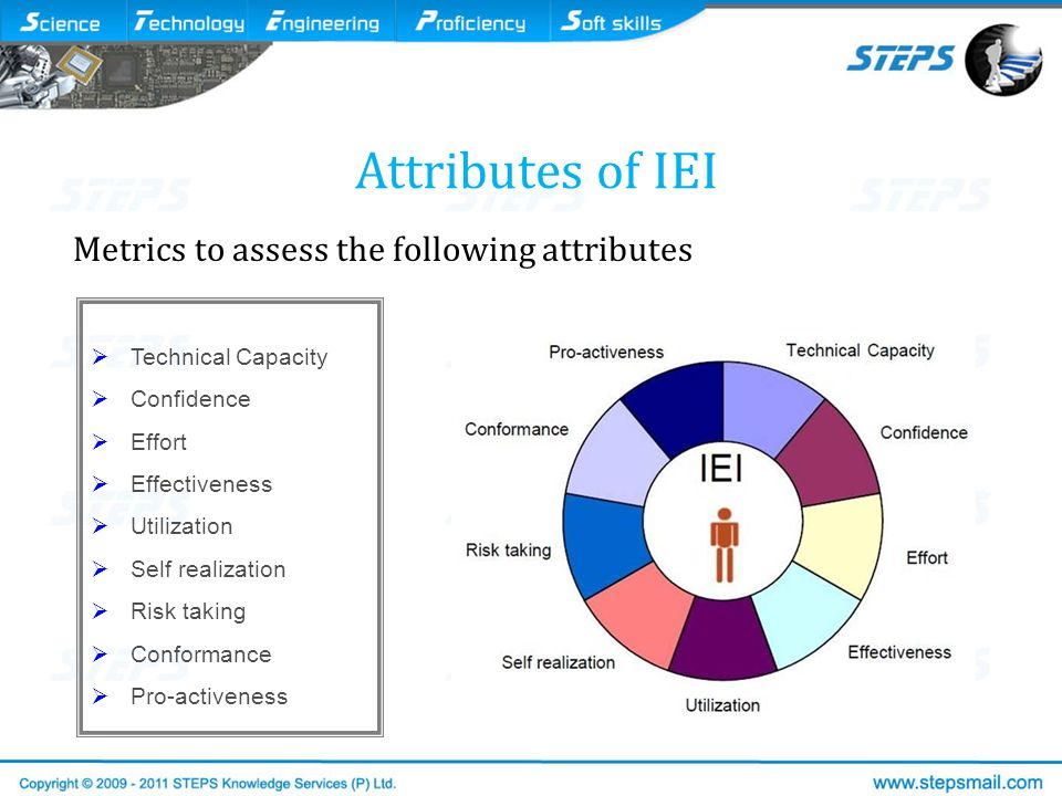  Technical Capacity  Confidence  Effort  Effectiveness  Utilization  Self realization  Risk taking  Conformance  Pro-activeness Attributes of IEI Metrics to assess the following attributes
