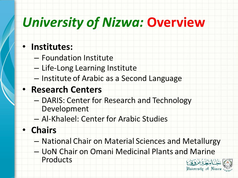 University of Nizwa: Overview Institutes: – Foundation Institute – Life-Long Learning Institute – Institute of Arabic as a Second Language Research Centers – DARIS: Center for Research and Technology Development – Al-Khaleel: Center for Arabic Studies Chairs – National Chair on Material Sciences and Metallurgy – UoN Chair on Omani Medicinal Plants and Marine Products