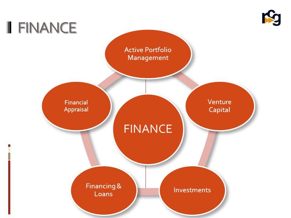 FINANCE FINANCE Active Portfolio Management Venture Capital Investments Financing & Loans Financial Appraisal