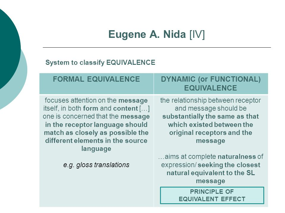 System to classify EQUIVALENCE Eugene A.