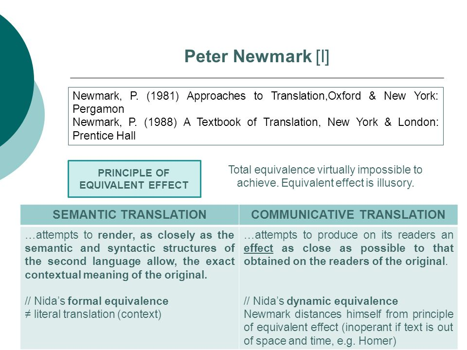 Peter Newmark [I] Newmark, P. (1981) Approaches to Translation,Oxford & New York: Pergamon Newmark, P. (1988) A Textbook of Translation, New York & Lo