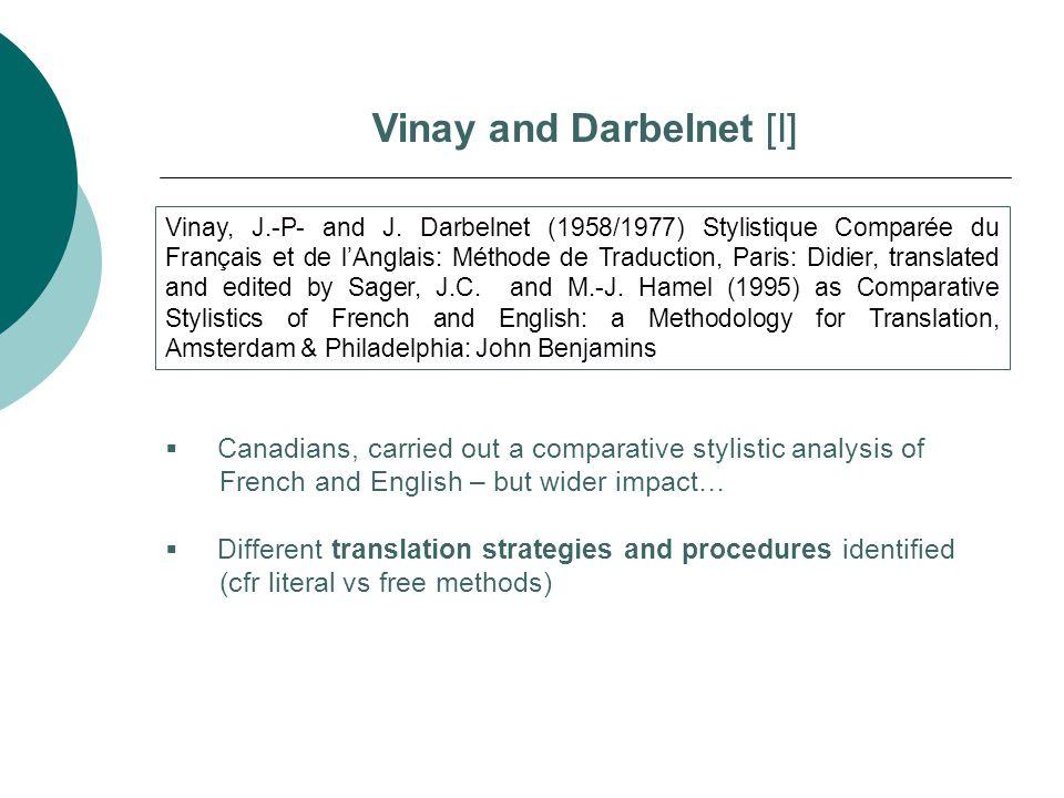 Vinay and Darbelnet [I] Vinay, J.-P- and J. Darbelnet (1958/1977) Stylistique Comparée du Français et de l'Anglais: Méthode de Traduction, Paris: Didi