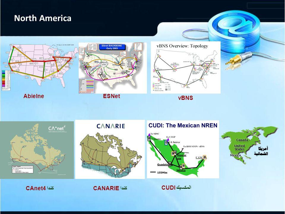 North America AbielneESNet vBNS كندا CAnet4كندا CANARIE المكسيك CUDI