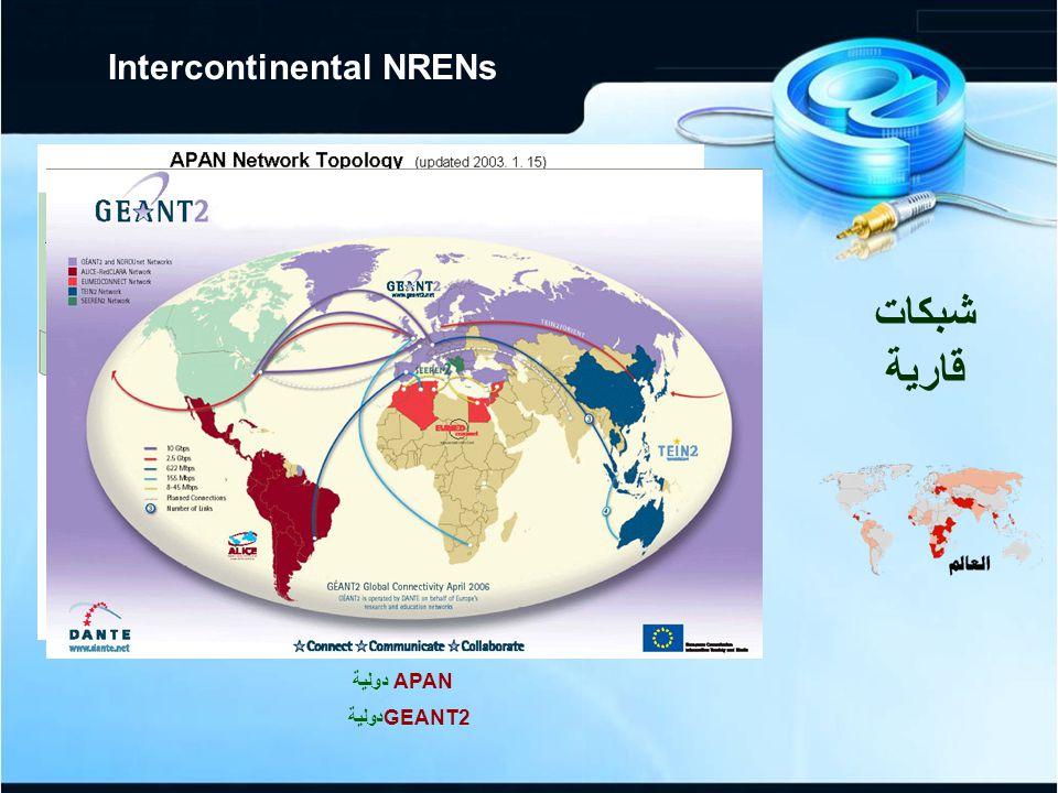 APAN دولية GEANT2دولية شبكات قارية Intercontinental NRENs