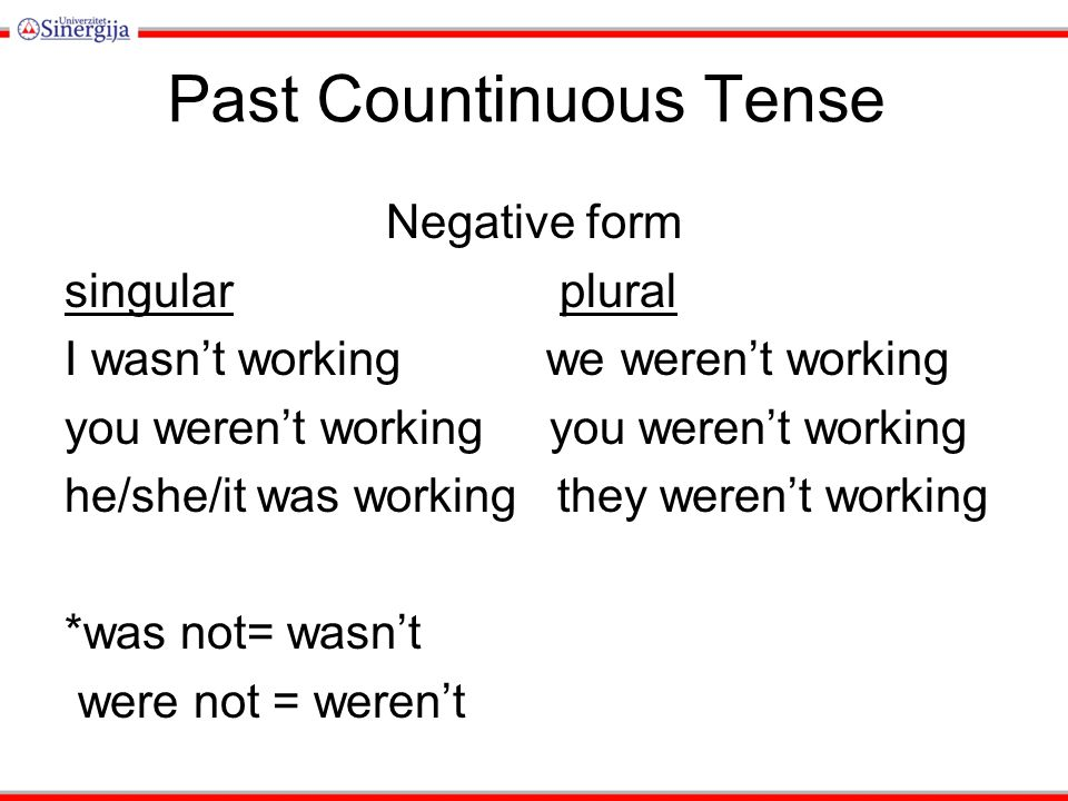 Past Countinuous Tense Negative form singular plural I wasn't working we weren't working you weren't working he/she/it was working they weren't workin