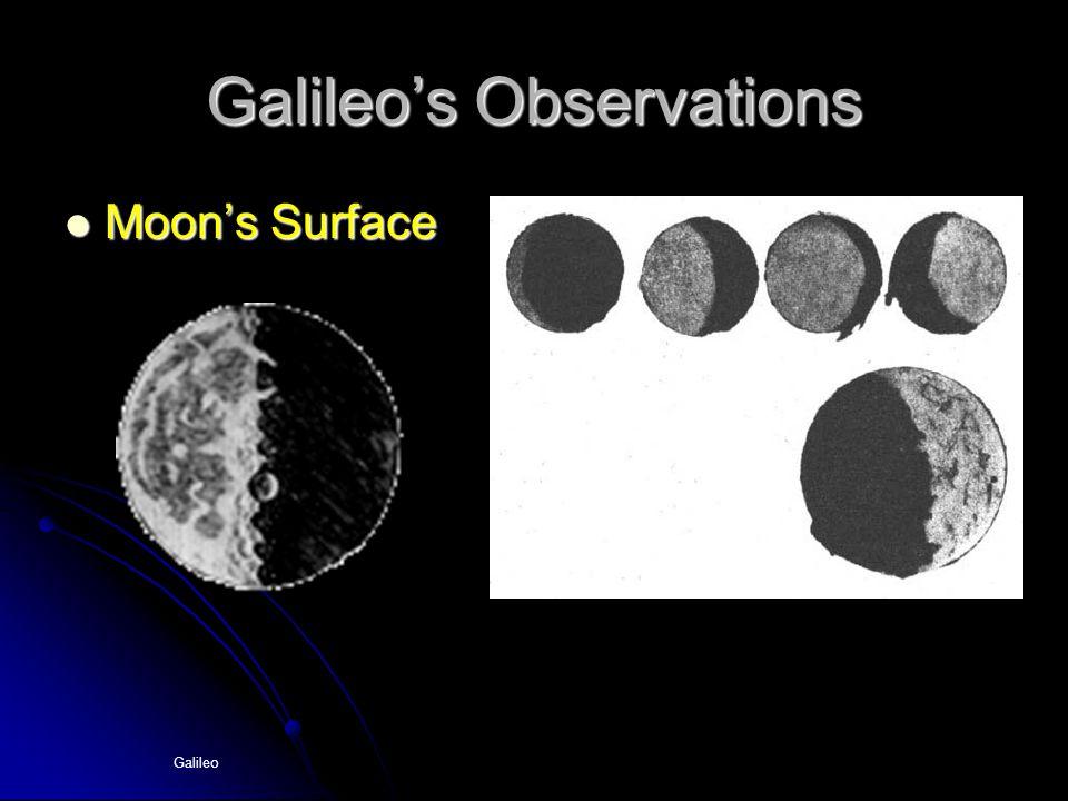 Galileo Galileo's Observations Moon's Surface Moon's Surface