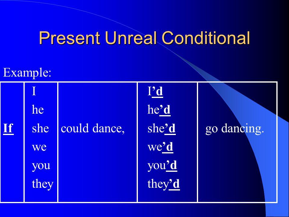 Present Unreal Conditional Example: II'd hehe'd Ifshecould dance,she'dgo dancing.