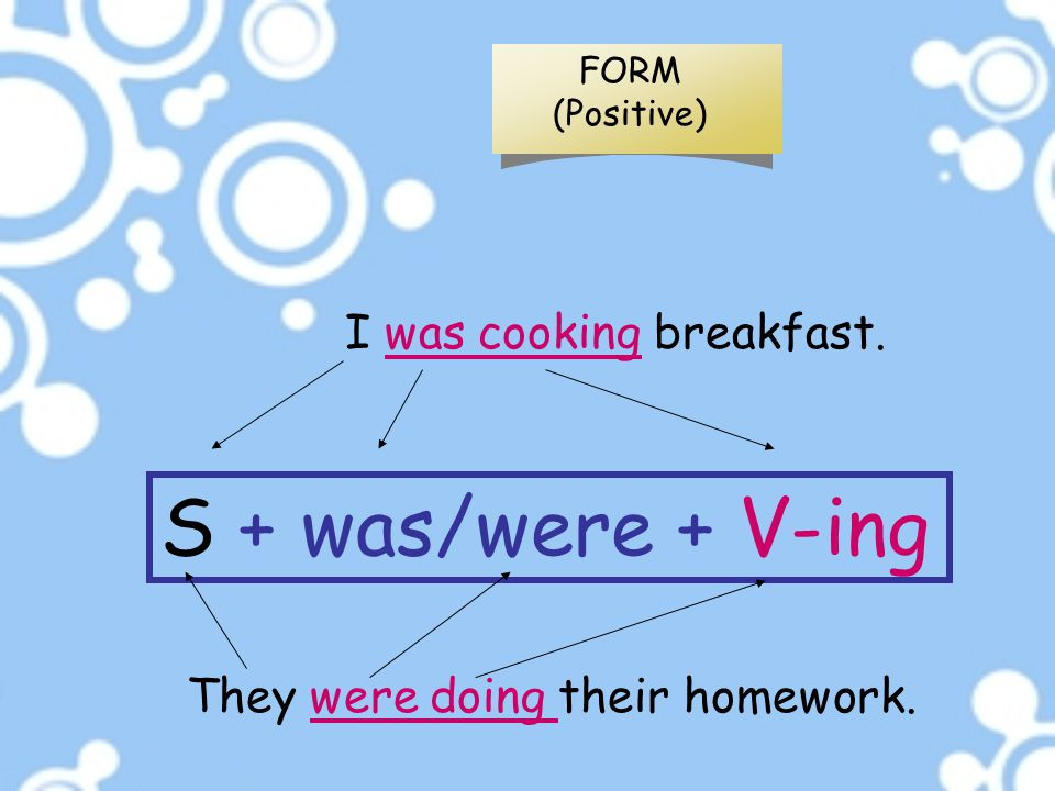 FORM (Positive) They were doing their homework. S + was/were + V-ing I was cooking breakfast.