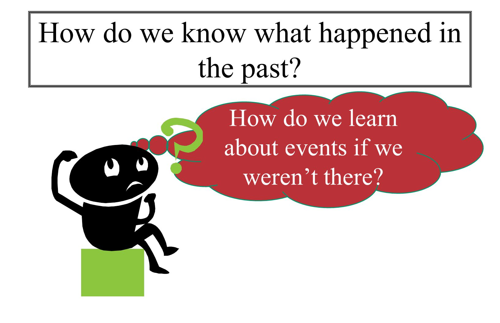 How do we learn about events if we weren't there How do we know what happened in the past