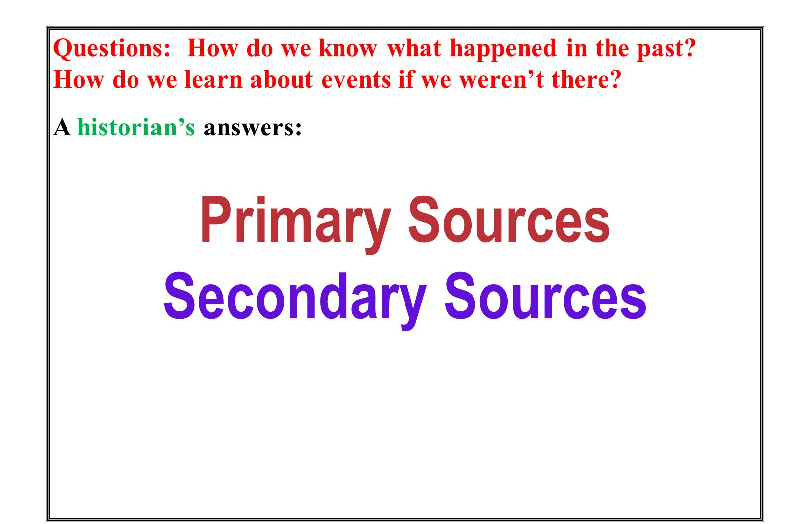 Are accounts of the past created by people writing about events after they have happened Are what historians (and History Day participants) create Secondary Sources Books/Textbooks Encyclopedias Articles Websites