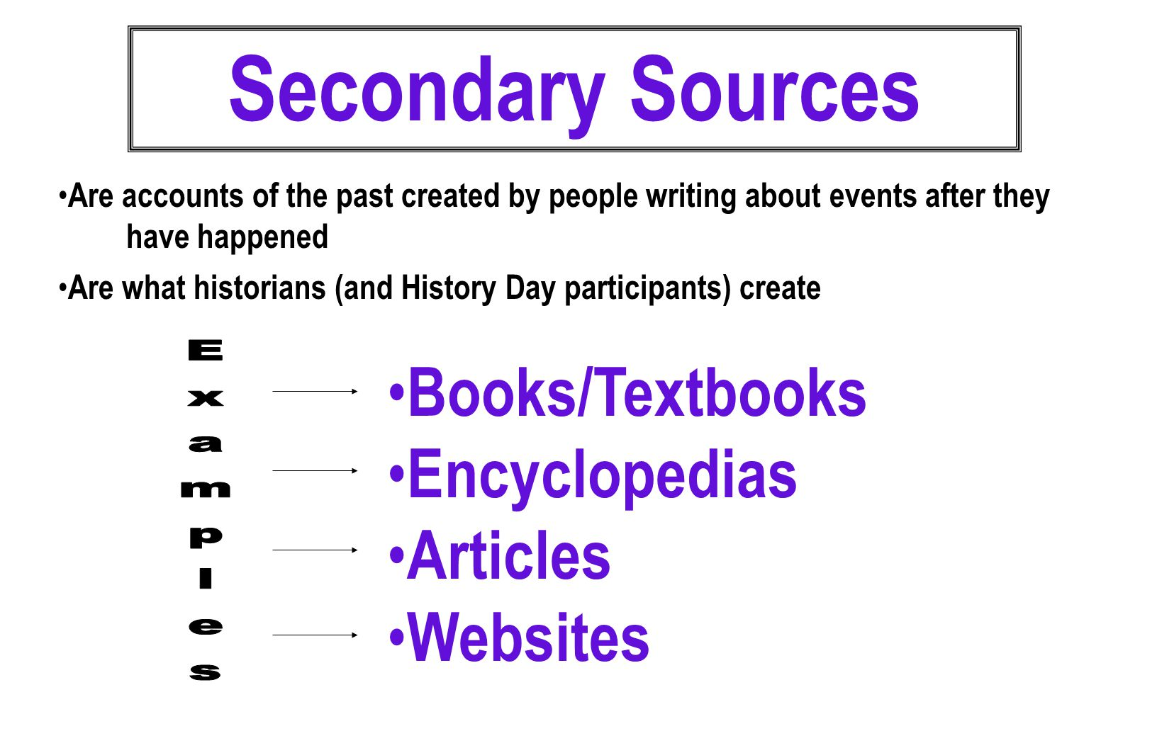  Provide an introduction to a topic  Provide historical/broader context for a topic  Show how has a topic been interpreted by other historians  Provide hints on where to find primary evidence  Provide information which enables historians to make sense of primary sources Secondary Sources