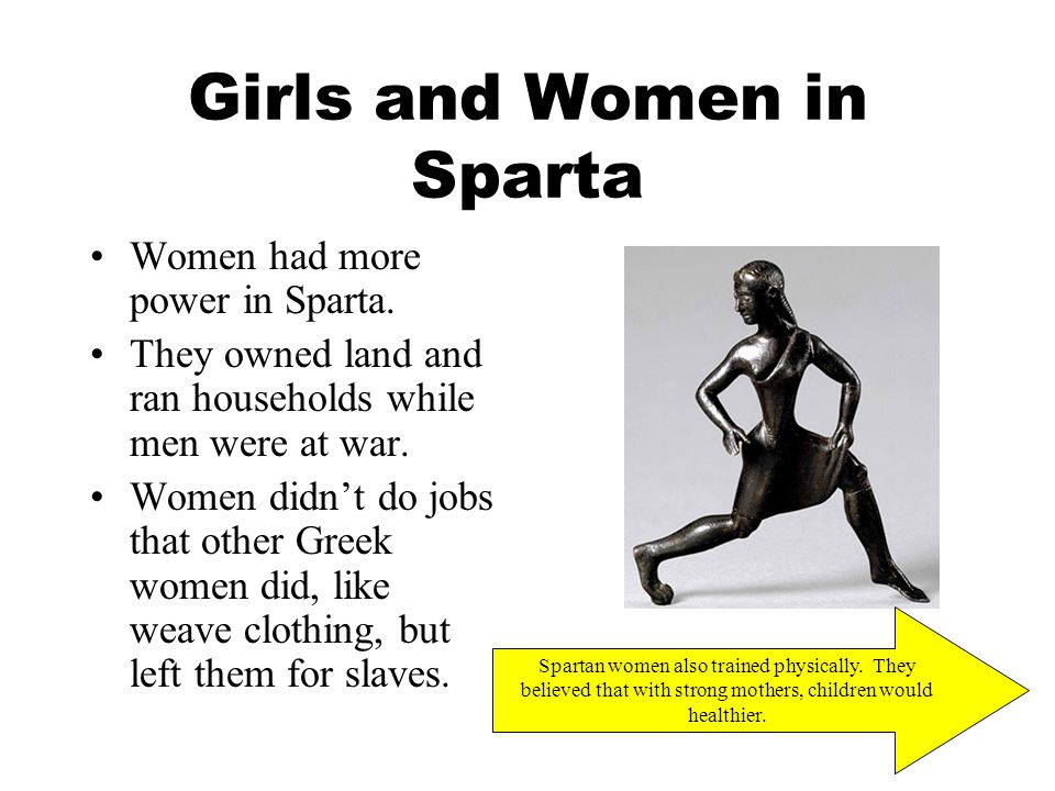 Girls and Women in Sparta Women had more power in Sparta.
