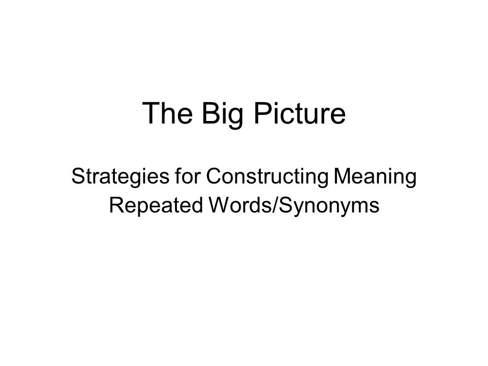 The Big Picture Strategies for Constructing Meaning Repeated Words/Synonyms