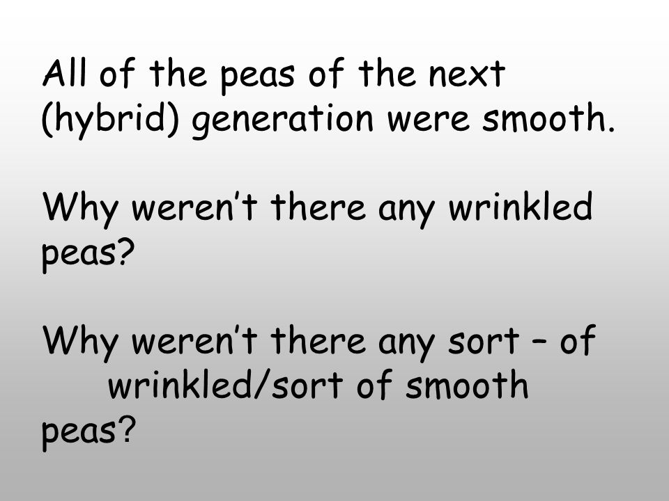 All of the peas of the next (hybrid) generation were smooth.
