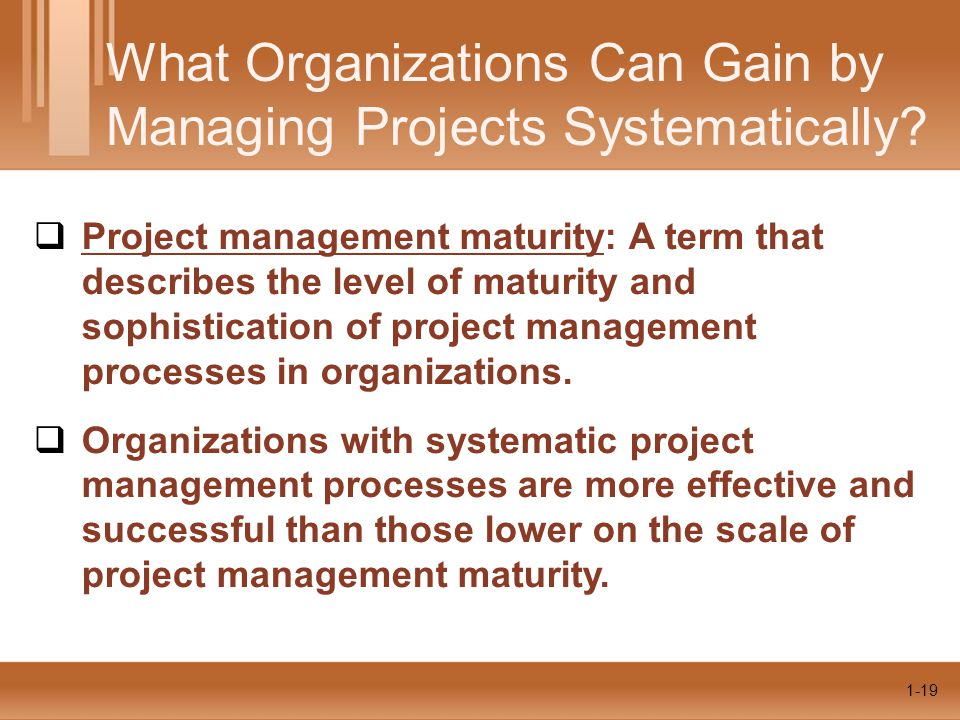 1-19 What Organizations Can Gain by Managing Projects Systematically?  Project management maturity: A term that describes the level of maturity and s