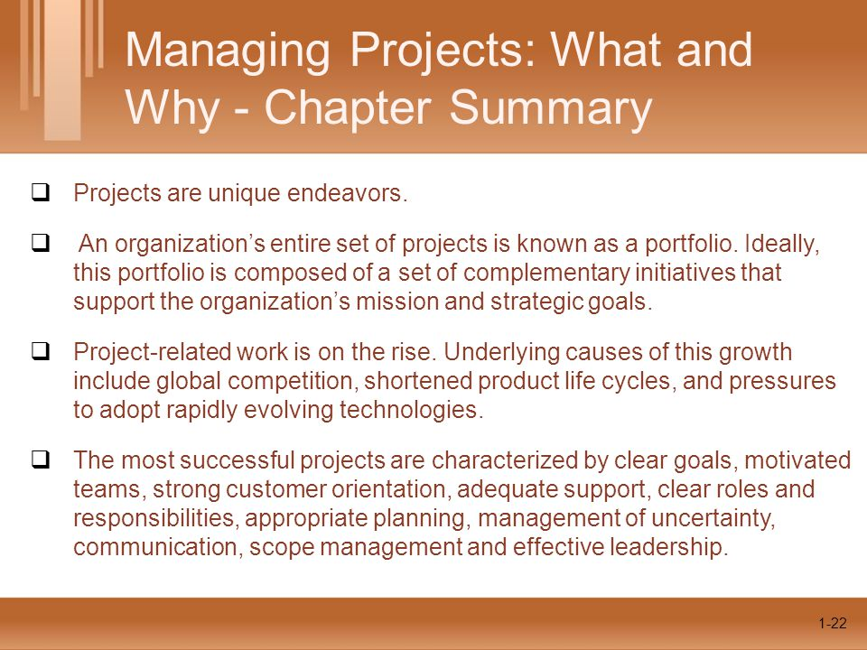 1-22  Projects are unique endeavors.  An organization's entire set of projects is known as a portfolio. Ideally, this portfolio is composed of a set