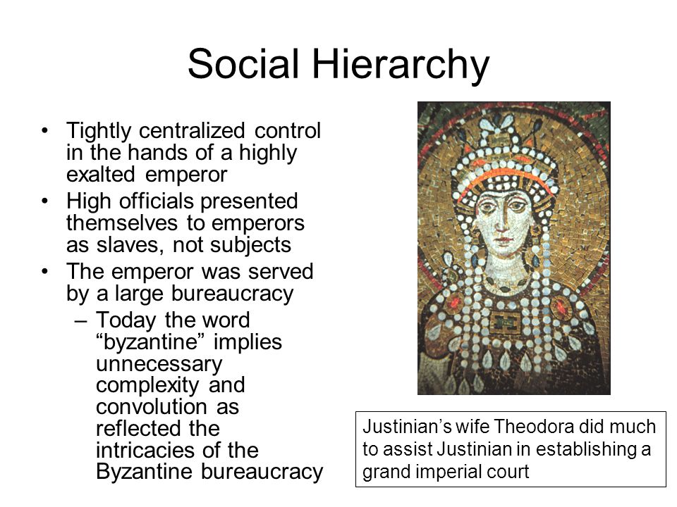 Social Hierarchy Tightly centralized control in the hands of a highly exalted emperor High officials presented themselves to emperors as slaves, not s
