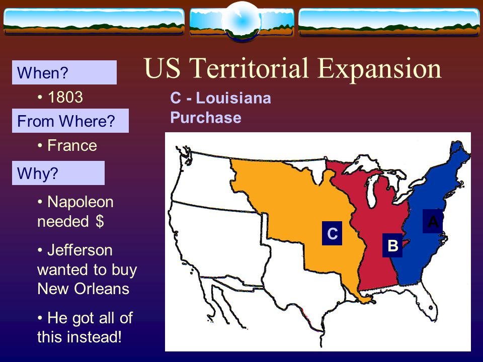 12 US Territorial Expansion A When. From Where. Why.